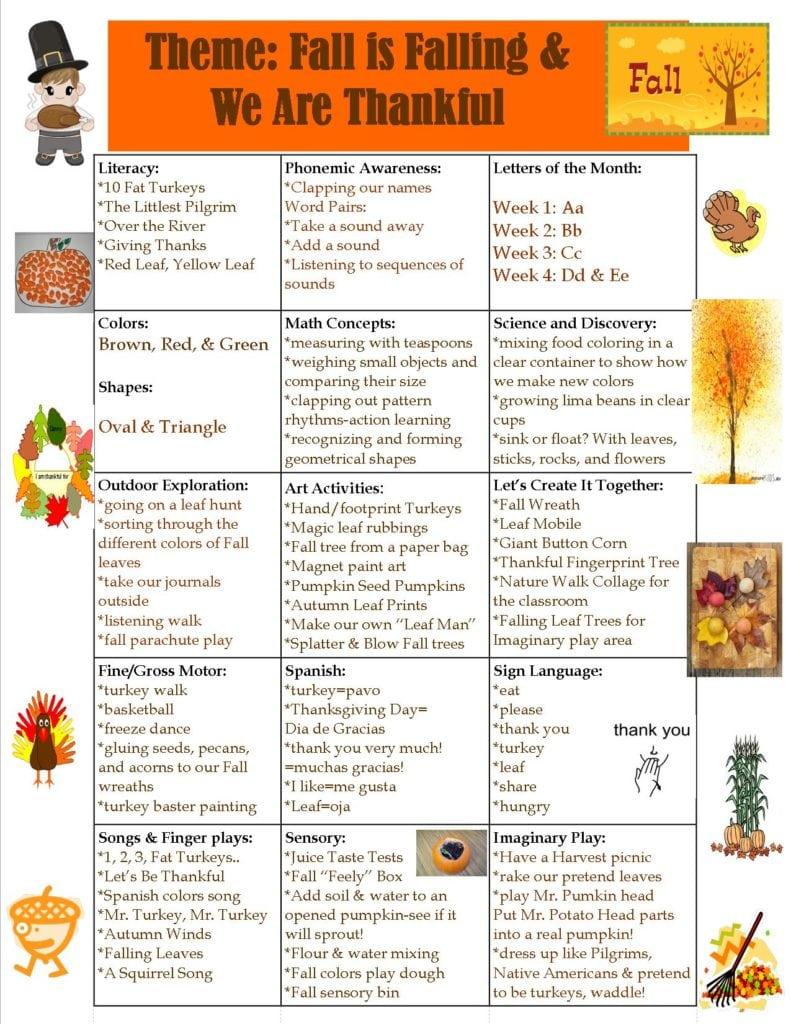Preschool Fall and Thanksgiving Theme - Thanksgiving Lesson Plans For Kindergarten